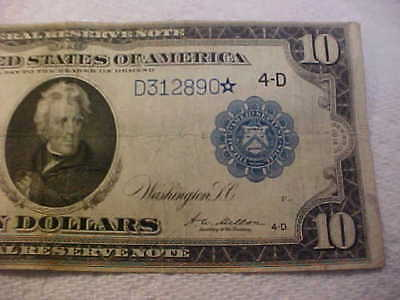 1914 Rare Star Note  $10 Large Currency  Federal Reserve Cleveland # 919 A*