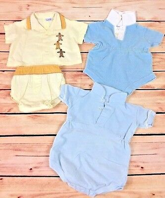 Lot of 4 pieces VINTAGE 1960'S Tops, bottoms, Little Toddler Boys RETRO CLASSIC