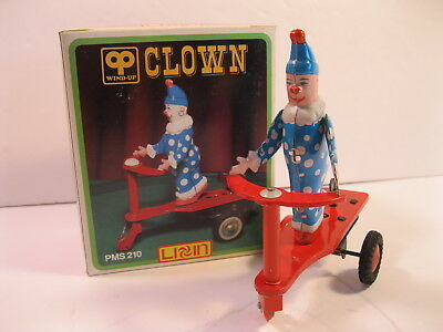 VINTAGE CHINA TOY CLOWN ON SCOOTER WIND-UP TIN LITHO CHINA 1980's WITH BOX