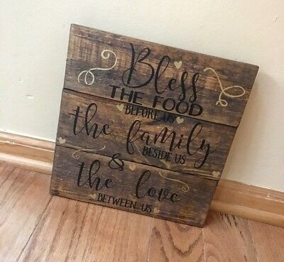 RUSTIC HANDMADE Custom Wood Sign Wall Decor Bless The Food Before Us ...