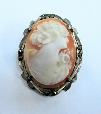 Fine quality vintage 800 silver, marcasite & carved shell cameo brooch/pendant