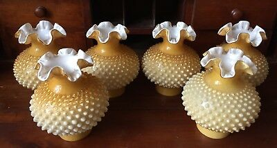 6 Fenton Cased Glass Butterscotch Hurricane Lamp Shades