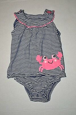 Carters Baby Girls size 24 Months Swimsuit - Blue/White, Pink Crab Design