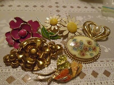 Vintage brooches lot of 6 all different designs & styles floral's & heart