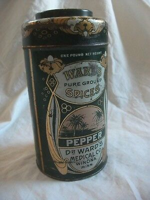 """Vtg WARD'S Pure Spices Pepper Tin Can Dr.Ward's Medical Co Winona Minnesota 7"""""""