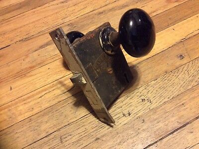 set of antique black porcelain door knobs, with back plates & working hardware