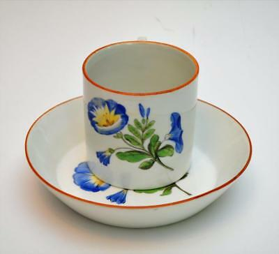 Atq 1770s MEISSEN Crossed Swords w Star Mark MORNING GLORY Set Cup&Saucer Chip#3