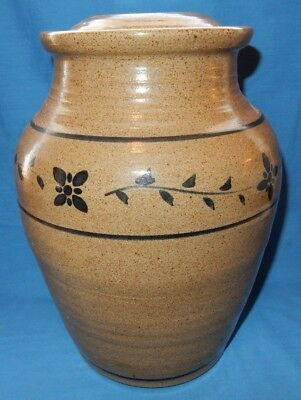 "Large 12"" Handthrown Pottery Jar Lamp Base Tan / Brown  Stoneware w/o works"