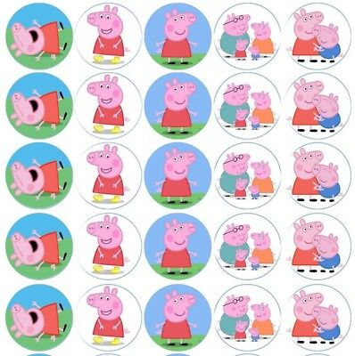 35 Peppa Pig Edible Rice Paper Wafer Cupcake topper Fairy cake Birthday Party