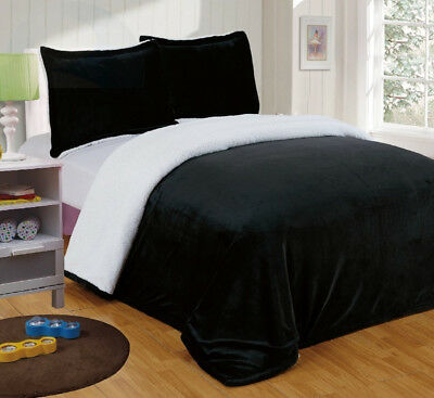 Chezmoi Collection Micromink Sherpa Reversible Throw Blanket (Queen, Black)