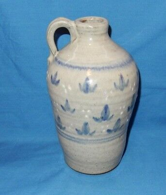 "8"" Handthrown Pottery Jar Bottle Jug Lamp Base Country Blue Stoneware w/o works"