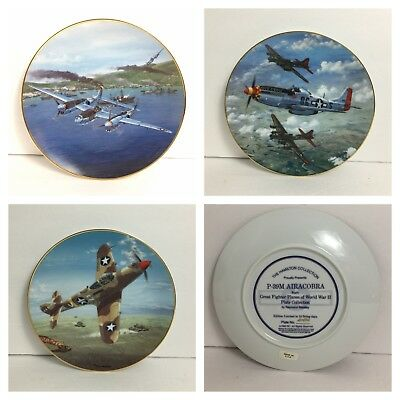 """Lot of 3 Collector plates """"Great Fighter Planes of World War II"""" by Hamilton"""