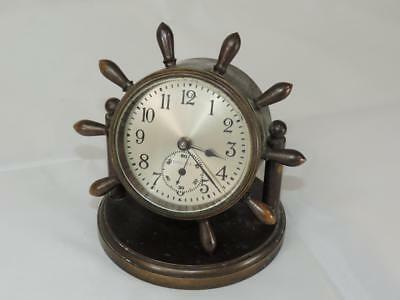 Chelsea Ships Yacht Boat Wheel Desk Clock Missing 1-Spoke NO RES As Found