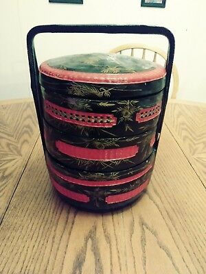 Vintage Asian/chinese woven wicker basket stackable 3-tier layered/picnic