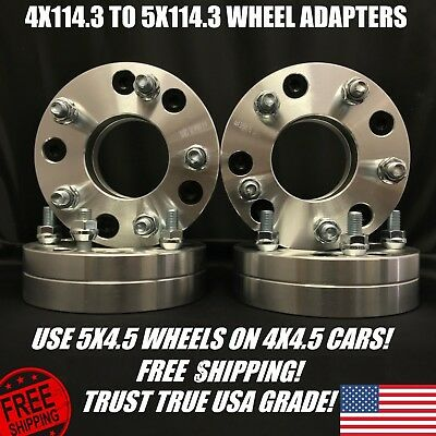 4X4.5 To 5x4.5 Wheel Adapters 2 Inch Thick 4x114.3 to 5x114.3   12x1.5 Studs