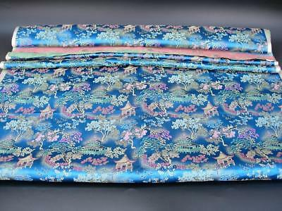 """A Nice Vintage Chinese Bolt Of Blue Silk With Figures In Landscape Scene, 212"""" L"""
