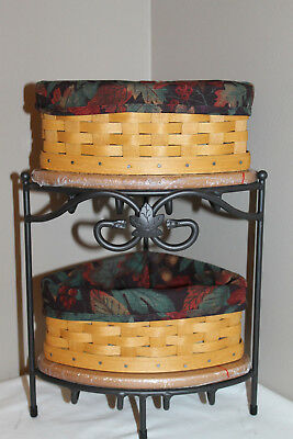 New Lot Longaberger Small Corner Baskets, Wrought Stand, Lids, Protector, Fabric