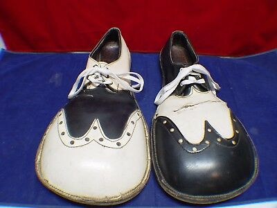 Vintage Handmade Heavy Leather Black & White Circus Clown Shoes