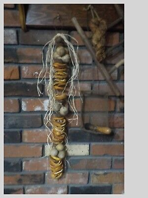Primitive Style Early Homestead Dried Gourd & Oranges W/ Black Walnuts & Raffia