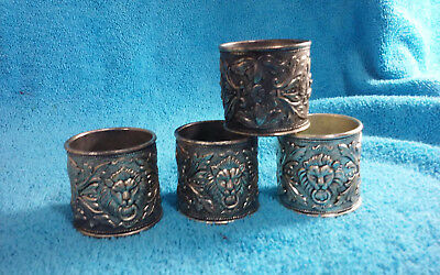 Antique Victorian Set of 4 Lion Head Silverplate Napkin Rings