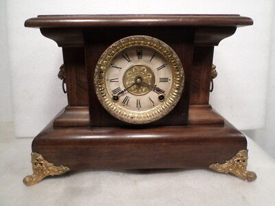 E.N. Welch Mantle Clock Circa 1895 Runs, Needs Strike Spring
