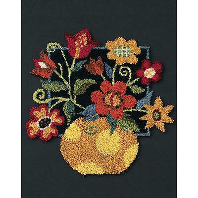 Dimensions 73222 Floral  On Black Punch Needle Stitch Kit
