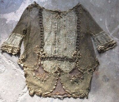 Antique 1920s All Gold Metallic Lace Tunic Blouse Embroidery Bows Floral Trim