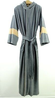 VTG- ROBE By KIMONO ROBE- Gray & Beige ONE SIZE FITS ALL w/ Belt & Hood