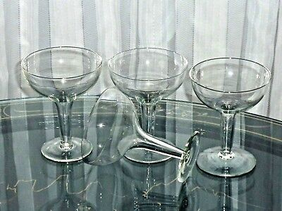 Gorgeous Art Deco Hand Crafted Crystal Hollow Stem Champagne Glasses Set Of 4