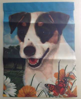 """Fox Terrier Garden Flag USA Made Double Sided 11"""" x 15"""" Masked Eyes Dog Pet Gift"""
