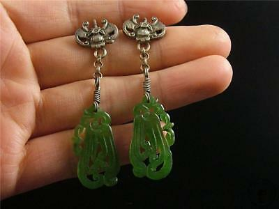 A Pair of Antique Old Chinese Spinach Green Nephrite Jade Earrings Silver Hook