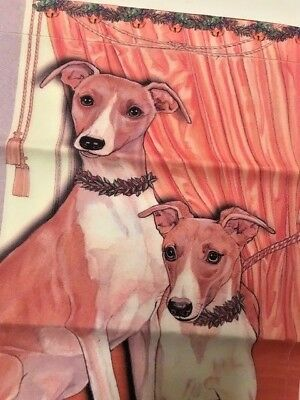"""Whippet Garden Flag USA Made Double Sided 11"""" x 15"""" Christmas Holiday Dog Gift"""