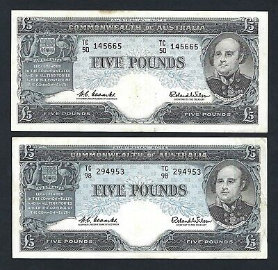 2x Commonwealth of Australia 1960 Coombs/Wilson Five Pounds Banknotes R50