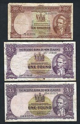 3x Reserve Bank of New Zealand 1960 Fleming Ten Shillings & One Pound Banknotes