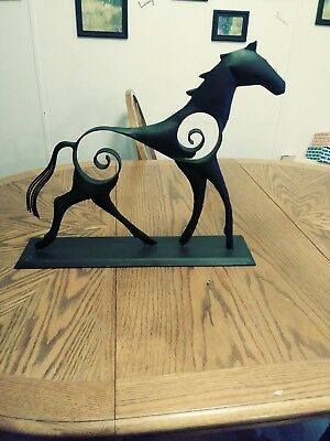 "Cast iron horse figure toy/art statue black, 20"" long x 17"" tall,"