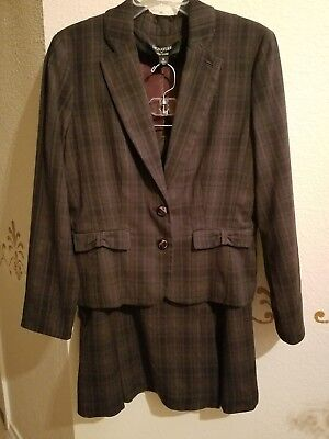 Signature by Larry Levine Gray Burgundy Black Lined Skirt Suit/Set Sz.12