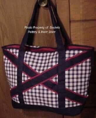 NEW Longaberger DUFFLE BAG-LUGGAGE-TOTE in Red-White-Blue HEAVY CANVAS-Very RARE