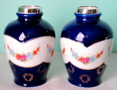 Pair of Vases Cobalt Glaze Sterling Silver Mounds Floral Garlands by David Loebl