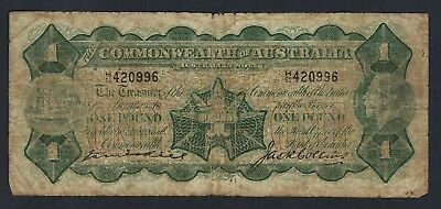 Commonwealth of Australia 1926 George V Kell/Collins One Pound Banknote R24