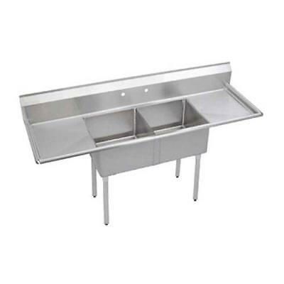 Elkay - SE2C18X18-2-18X - 24 in Two Compartment Sink With  18 in Drainboards
