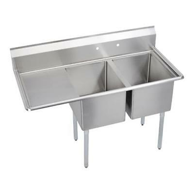 Elkay - E2C20X20-L-20X - 64 1/2 in Two Compartment Sink w/ Left Drainboard