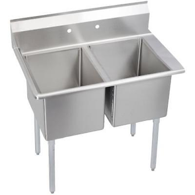 Elkay - E2C24X24-R-24X - 76 1/2 in Two Compartment Sink w/ Right Drainboard