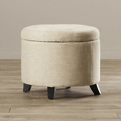 STORAGE OTTOMAN FOOT Stool Seat Round Tufted Contemporary ...