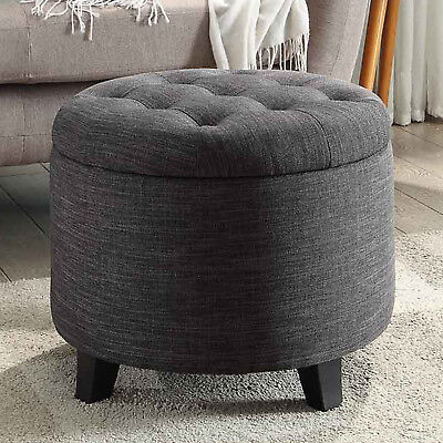 STORAGE OTTOMAN ROUND Tufted Foot Stool Seat Contemporary ...