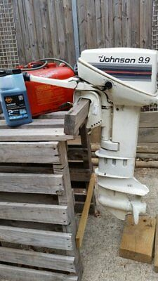 Outboard Motor Johnston 9.9 Long Shaft. See Running. With Fuel Tank.