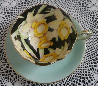 Paragon Tea Cup And Saucer - Yellow, Black, light blue With Yellow Flowers