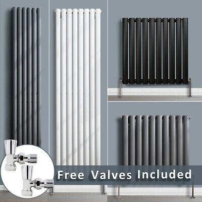 Designer Radiator Vertical Horizontal Bathroom Oval Tube Rad + Angled Valves