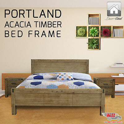 New Luxury Solid Acacia Timber Portland Wenge King Single Bed Frame