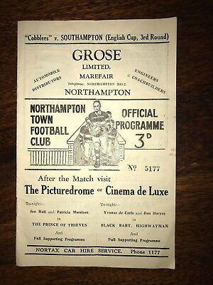 Northampton Town vs Southampton January 7th 1950 Rare Vintage Original