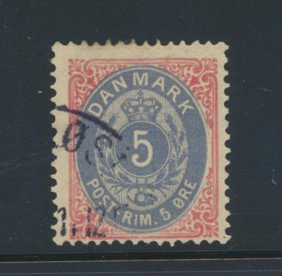 Denmark 27 1879 5 ore Numeral Crown Posthorn used cat. value $72.50